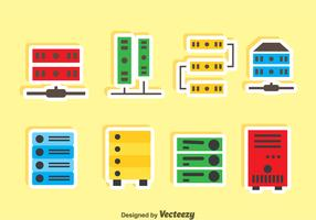 Server Rack Icons Vector