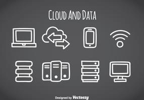 Ícones de elemento de nuvem e dados