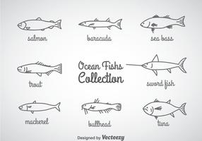 Ocean Fish Linear Icons Vector