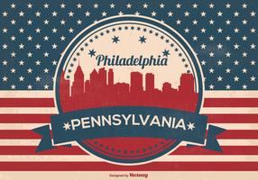 Retro Philadelphia Vector Skyline Illustration