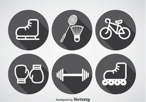 Sports Long Shadow Icons Vector