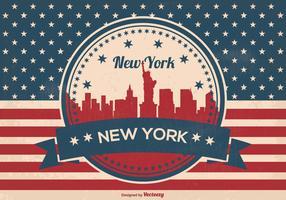 Retro New York Skyline Illustration