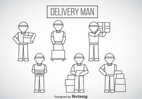 Delivery Man Outline Icons