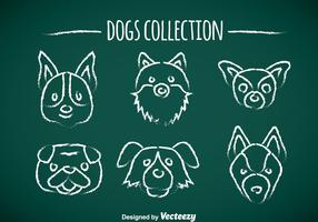 Dogs Chalk Draw Icons