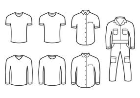 Overall And Folded Shirts Vectors