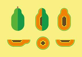 Flat Style Papaya Illustration Vector