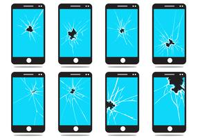 Broken Phone Screen Vector Set