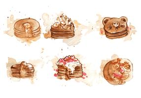 Handpainted Pancake Vector Set