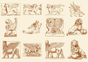 Statues Of Lions Griffins And God Vectors