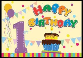 Kids 1st Birthday celebration flat vector
