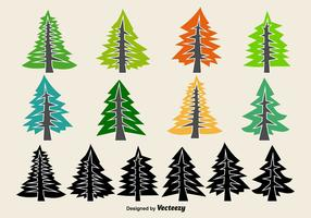 Flat Pine Vector Icons
