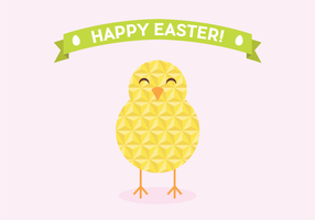 Flat Geometric Easter Chick Vector