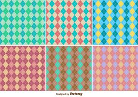 Classic Seamless Rhombus Argyle Vector Patterns Set
