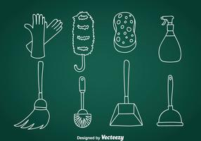 Home Cleaning Doodle Vector Icons