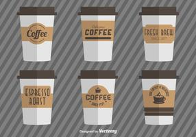 Coffee Cups With Vector Coffee Cardboard Sleeves