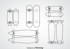 Skateboard Outline Icons