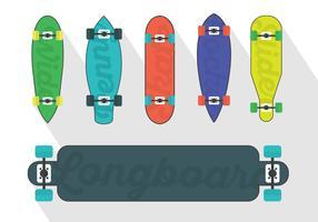 Vector Set Of Longboard Illustrations