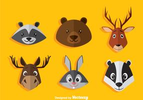 Cartoon Animal Head Icons Vector
