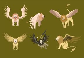 Winged Lion Illustration Vector