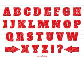 Red Scribble Style Alphabet Set