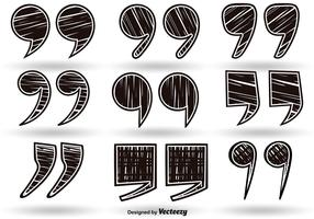 Vector hand drawn quotation mark symbol set