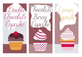 Free Cute Cupcakes Vector Background