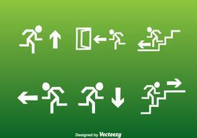 White Exit Icons Set