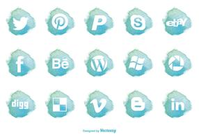 Watercolor Style Social Media Icon Set