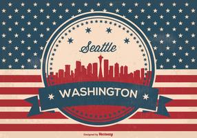 Retro Seattle Washington Skyline Illusrtation