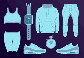 Sport Wear Equipament Running Vector Illustration