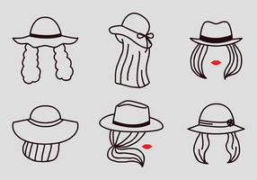 Vector Outline Women with Hats