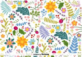 Vector Hand-Drawn Colorful Flowers Background