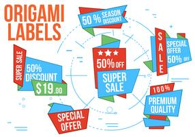 Free Super Sale Origami Vector Labels