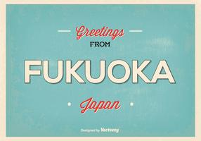 Retro Fukuoka Japan Greeting Illustration