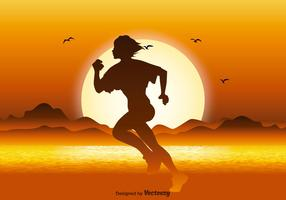 Running Silhouette in Sunset Illustration