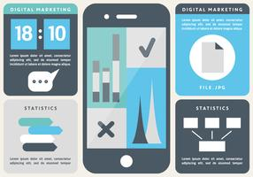 Free Flat Digital Marketing Vector Background with Touch Screen Smart Phone