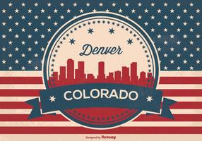 Retro Style Denver Skyline Illustration