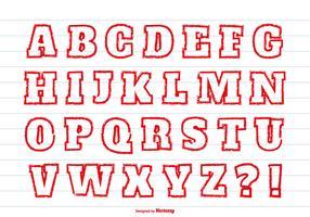 Red Crayon Style Alphabet Set