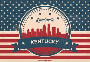 Retro Luisviile Kentucky Skyline Illustration