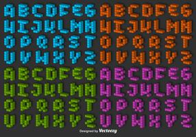 3D Pixel Alphabet Vector Set