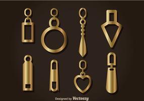 Gold Zipper Pull Headers Vector