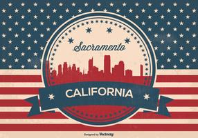 Retro Style Sacramento Skyline Illustration