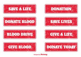 Blood Donation Grunge Stamps