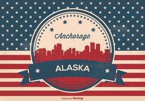 Retro Anchorage Alaska Skyline Illustration