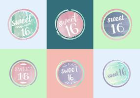 Free Sweet 16 Watercolor Vectors