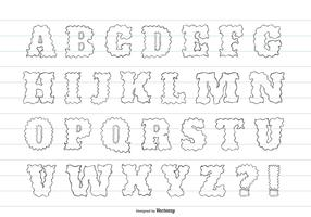 Cute Messy Hand Drawn Alphabet