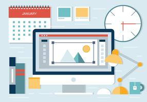 Free Flat Desgn Workplace Vector