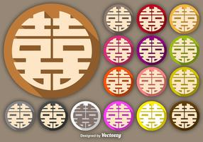 Vector Double Happiness Symbol Buttons