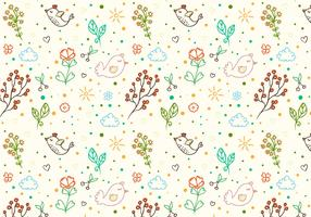 Free Vector Doodle Floral Bird Background