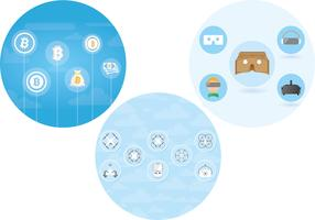 Bitcoin + Drone + VR icon set (Free use)